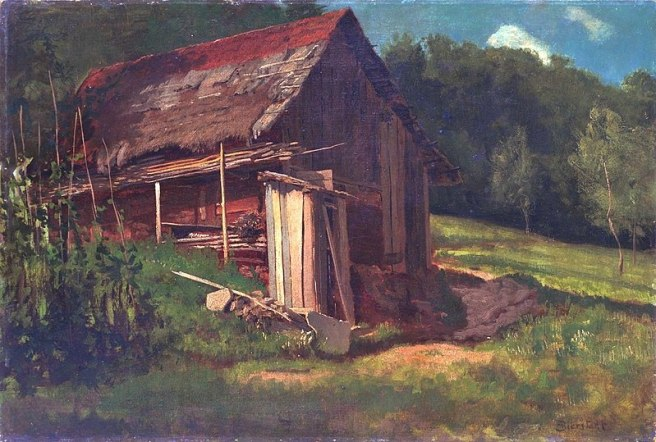 800px-Cori's Barn Joe Cottonwood Albert_Bierstadt_-_Swiss_Mountain_Cabin