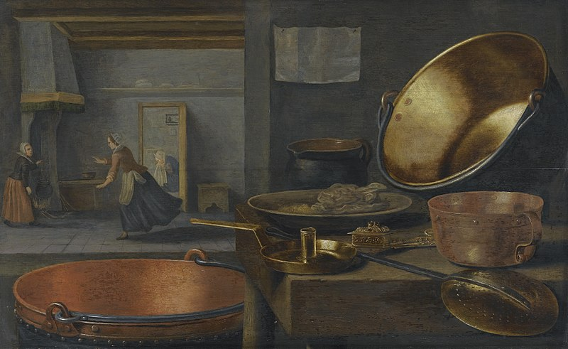 Floris_van_Schooten_-_A_kitchen_still_life_with_pots_and_pans_on_a_stone_ledge_and_animated_figures_in_the_background